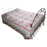 Vintage Pieced Pink and White Basket Quilt