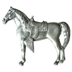Sterling Silver Horse Pin with Western Saddle
