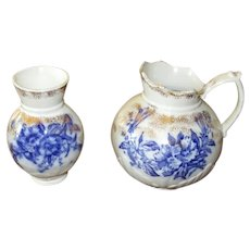 English Flow Blue Hot Water Pitcher & Toothbrush Holder