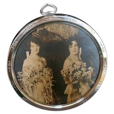 Round Gorham Silver-Plate Tabletop Picture Frame