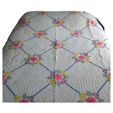 Vintage Chained Floral Applique Quilt