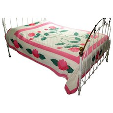 "Vintage Appliqued and Embroidered ""Poppy"" Quilt"
