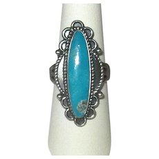 Native American Navaho Silver & Turquoise Ladies' Ring