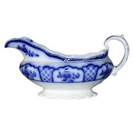 English Flow Blue Pottery Sauce Boat