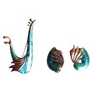 """Vintage Copper Enamel Matisse """"Wingsong"""" Pin and Earrings"""