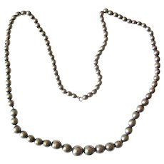 "27"" Graduated Sterling Bead Necklace on Chain"