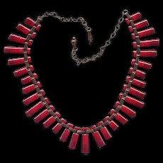 "Matisse Copper & Red Enamel ""Peter Pan"" Necklace"