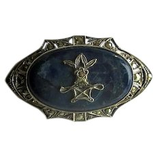 Antique Sterling Silver & Marcasite Pin with Blue Jasper
