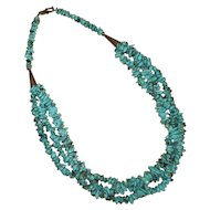 Native American Turquoise and Silver Nugget Necklace
