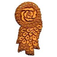 Vintage Carved Caramel Bakelite Clip
