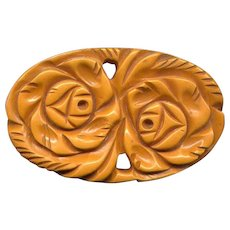 Large, Chunky Carved Caramel Bakelite Flower Pin
