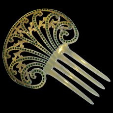 Large Fancy Celluloid Comb with Green Rhinestones