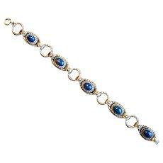 Vintage Costume Blue Stone Link Bracelet