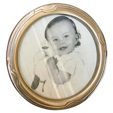 Small Round Sterling Silver Tabletop Picture Frame