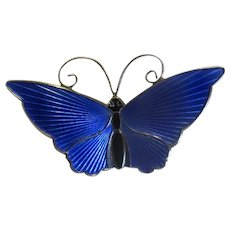 D-A David Andersen of Norway Blue Enamel Butterfly Pin