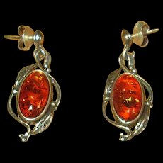 Sterling Silver and Amber Drop Earrings