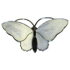 Sterling Silver and White Enamel Butterfly Pin