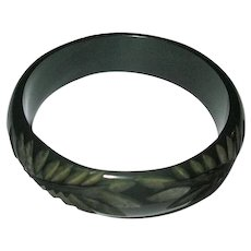Translucent Green Vintage Bakelite Bangle with Chip Carving