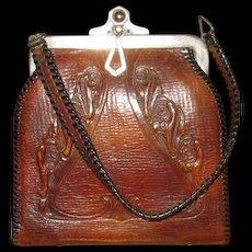 Vintage Tooled Leather Handbag with Art Nouveau Design