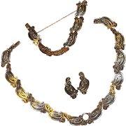 Vintage Mexican Sterling Margot de Taxco Necklace, Bracelet & Earrings
