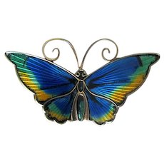 Norway Sterling D-A David Anderson Multi-Colored Butterfly Pin