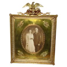 Vintage Brass Tabletop Picture Frame with Eagles