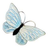 Sterling Silver and Blue Enamel VB Denmark Butterfly Pin