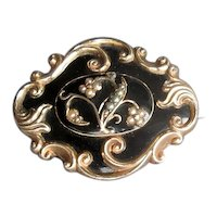 Victorian Black Onyx and Enamel Mourning Brooch with Pearls