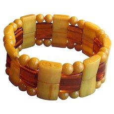 Yellow Catalin Bakelite Stretchy Bracelet