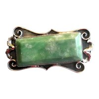 Vintage Sterling & Green Onyx Pin