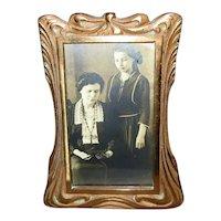 Brass Art Nouveau Tabletop Picture Frame
