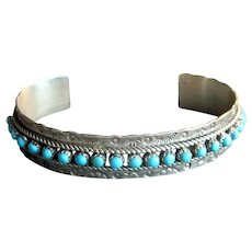 Native American Signed Silver & Turquoise Cuff Bracelet