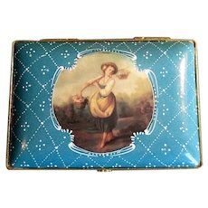 Porcelain Limoges Box with Peasant Girl