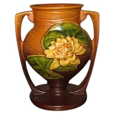 """Roseville Art Pottery 6"""" Brown Water Lily Vase"""
