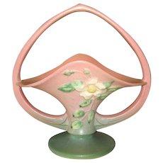 """Roseville Art Pottery 10""""  White Rose Basket"""