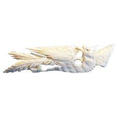 Vintage Bone Carved Asian Phoenix Bird Pin