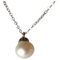 White Cultured Pearl Drop with 14K Chain