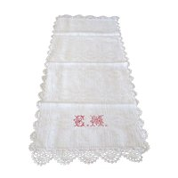 Vintage Linen Towel or Runner with Cross-Stitched Monogram