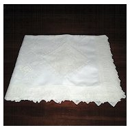 White Madeira Linen Tablecloth with Filet Lace Inserts
