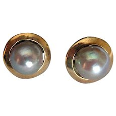 14K Gold Post Earrings with Mabe Pearls