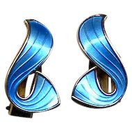 Norway Sterling and Blue Enamel Curvy Clip Earrings