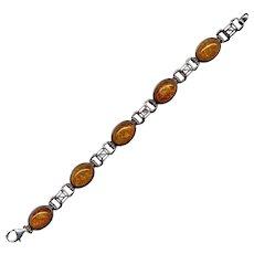 Sterling Silver and Amber Link Bracelet