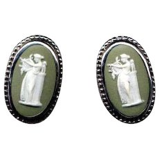 Sterling Silver Green Wedgwood Cameo Screw-Back Earrings