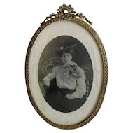 Antique Oval Brass Tabletop Picture Frame