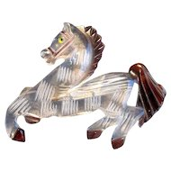 Vintage Carved Lucite Horse Pin
