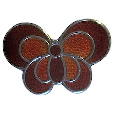 D-A David Andersen of Norway Red Enamel Butterfly Pin