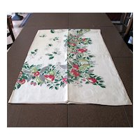 Vintage LInen Tablecloth with Red and Green Fruit