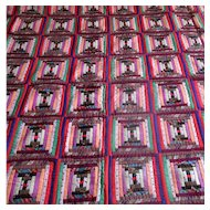"Victorian Log Cabin ""Courthouse Steps"" Pieced Coverlet"