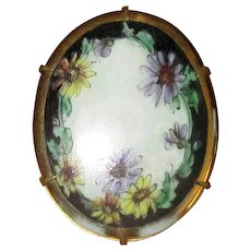Hand-Painted Ceramic Pin with Asters