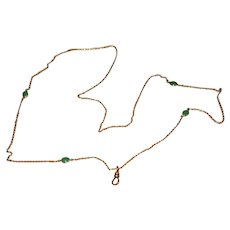 Vintage Gold-Filled Ladies' Lorgnette Chain with Green Stones